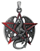 Gothic Red Pentagram Star Dragon Pendant Necklace Jewellery Accessory
