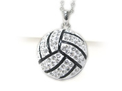 Large White Silvertone Crystal Volleyball Ball Pendant Necklace