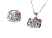 Sparkling Kitty Charm Necklace and Ring Set with Pink Bows