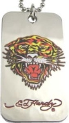 Ed Hardy Tiger Colour (Open Mouth) Dog Tag Pendant Necklace ~ Pouched