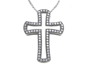 Zoe R(tm) Sterling Silver Micro Pave Hand Set Cubic Zirconia (CZ) Medium Cross Pendant