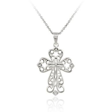 Sterling Silver Medium Filigree Cross Pendant Necklace, 45.7cm