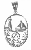 Alcoholics Anonymous AA Symbol Pendant #911-3, 1.9cm Wide and 1-1cm Tall, Sterling Silver, Beautiful Seascape Design with AA Symbol