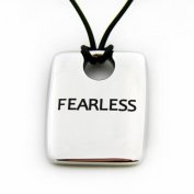 "Stainless Steel ""Fearless"" Dog Tag Pendant with 45.7cm Black Rubbery Cord"