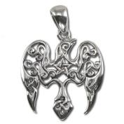 Sterling Silver Small Raven Pentacle Pentagram Pendant by Dryad Design