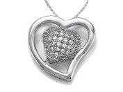 Zoe R(tm) 925 Sterling Silver Micro Pave Hand Set Cubic Zirconia (CZ) Heart Shape Pendant On 45.7cm Chain
