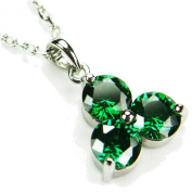 CZ-Triangle Necklace, Emerald-Coloured CZ, 45.7cm