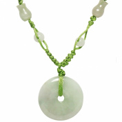 Natural Grade A Jadeite Jade Harmony Circlet Coin (Bi) Green Cord Necklace