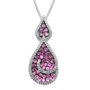 Jewelili Diamond Drop Pendant in Sterling Silver with Created Pink Sapphire. 45.7cm chain included