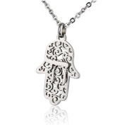 """Stainless Steel Judaica Pendant etched """"HAMSA"""" Symbol shape with Symbol """"CHAI"""""""
