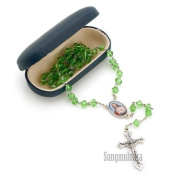 6mm Baby Green Crystal Rosary Necklace Imported From Italy