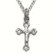 1.3cm Sterling Silver Crucifix Necklace with Open Pierced Ends on 40.6cm Chain