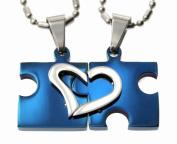 Lovers /Couple Novel Blue Puzzle Split Heart Pendant Set, Fine Stainless Steel