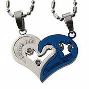 Lovers /Couple Blue /Silver Tone Heart Pendant Set, Stainless Steel