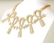 Gold plated chain link Necklace with Five Crystal studded Ankh Symbols, The Egyptian Symbol for Eternal life.