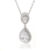 Bridal Series Gorgeous Double Teardrop Crystal Necklace