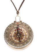 Woman's Large Golden Compass Necklace With Leather String