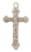 Sterling Silver Tiny Crucifix Cross Medal with 40.6cm Stainless Steel Chain Childrens Jewellery Boys Girls in Gift Box