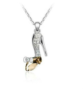 Topaz Champagne Crystal Stiletto Shoe Silver Plated Pendant Necklace