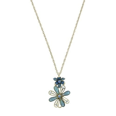 Sapphire Mother of Pearl Floral Pendant Necklace