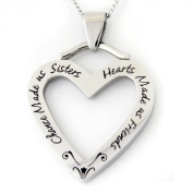 """CHANCE MADE US SISTERS, HEARTS MADE US FRIENDS"" PENDANT Sisters Gift Pendant Necklace with 45.7cm Chain Stainless Steel FREE Velvet Pouch"