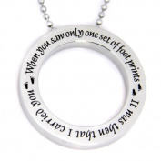 Footprints in the Sand Disc Necklace Pendant Charm with 45.7cm Chain