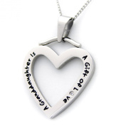 """A GRANDDAUGHTER IS A GIFT OF LOVE"" HEART SHAPED PENDANT WITH CZ Necklace with 45.7cm Chain for Grandmother or Granddaughter Stainless Steel"
