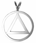 Alcoholics Anonymous AA Symbol Pendant #06-1, 2.5cm Wide, 1-1cm Tall, Sterling Silver, Large, Smooth & Clean