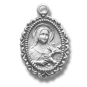Sterling Silver Small Oval Shaped Patron St Saint Therese Catholic Medal Pendant