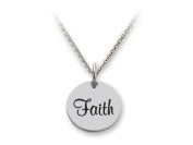 Stellar White(tm) 925 Sterling Silver Disc Charm Faith - Free 16 To 45.7cm Adjustable Chain Included