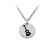 Stellar White(tm) 925 Sterling Silver Disc Charm - Guitar - Free 16 To 45.7cm Adjustable Chain Included