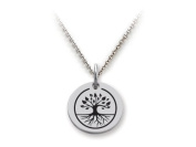 Stellar White(tm) 925 Sterling Silver Disc Charm - Tree Of Life - Free 16 To 45.7cm Adjustable Chain Included