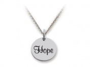 Stellar White(tm) 925 Sterling Silver Disc Charm - Hope - Free 16 To 45.7cm Adjustable Chain Included