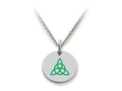 Stellar White(tm) 925 Sterling Silver Disc Charm Celtic Triquetra - Free 16 To 45.7cm Adjustable Chain Included