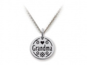 Stellar White(tm) 925 Sterling Silver Disc Charm - Grandma - Free 16 To 45.7cm Adjustable Chain Included