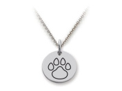 Stellar White(tm) 925 Sterling Silver Disc Charm Outline Paw Print - Free 16 To 45.7cm Adjustable Chain Included