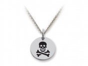 Stellar White(tm) 925 Sterling Silver Disc Charm - Skull and Crossbones - Free 16 To 45.7cm Adjustable Chain Included
