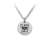 Stellar White(tm) 925 Sterling Silver Disc Charm - Class Of 2013 - Free 16 To 45.7cm Adjustable Chain Included