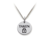 Stellar White(tm) 925 Sterling Silver Disc Charm - Taken - Free 16 To 45.7cm Adjustable Chain Included