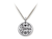 Stellar White(tm) 925 Sterling Silver Disc Charm - Nana - Free 16 To 45.7cm Adjustable Chain Included
