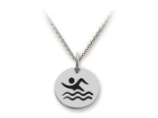 Stellar White(tm) 925 Sterling Silver Disc Charm - Swimming - Free 16 To 45.7cm Adjustable Chain Included