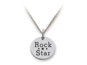 Stellar White(tm) 925 Sterling Silver Disc Charm - Rock Star - Free 16 To 45.7cm Adjustable Chain Included