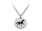 Stellar White(tm) 925 Sterling Silver Disc Charm - Horse - Free 16 To 45.7cm Adjustable Chain Included