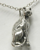 A Marvellous Sterling Silver Full Body Sitting Cat, So Proud! Made in America