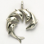 Sterling Silver Five Swimming Dolphins Pendant