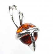 Sterling Silver Cognac Baltic Amber Pendant on 46cm Silver Chain