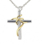 Sterling Silver Cross Pendant with 14k Gold Plated Wrap