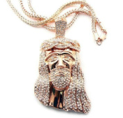 Rose Gold with Clear Iced Out Kanye West Jesus Piece Pendant with a 91.4cm Franco Chain Necklace