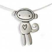 Love Monkey Sterling Silver Charm Necklace