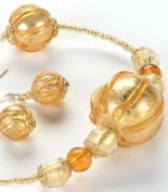 Gold Amber Globes Necklace Adornment Pendant Jewel Jewellery Accessory